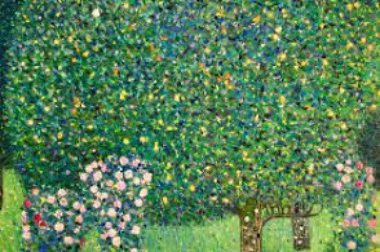 Gusztav Klimt :   Virágzó Rózsabokor a fák alatt